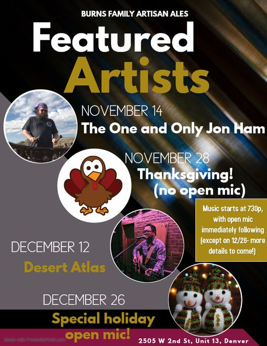 I'm playing at Burns Family Artisan Ales December 12