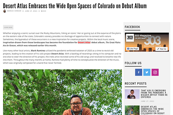 'Great Plains' featured in 303 Magazine